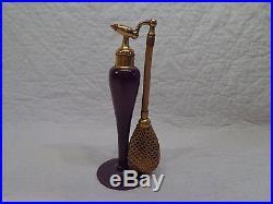 Vintage De Vilbiss Purple Glass Perfume Atomizer Bottle, Stamped & Signed