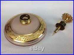 Vintage DeVILBISS Gold Pink Blown Glass Jeweled Perfume Bottle Atomizer