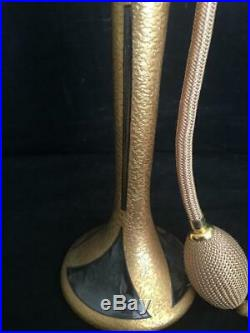 Vintage Devilbiss Art Deco Tall Crystal Gold Encrusted Atomizer Perfume Bottle