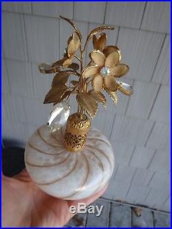 Vintage Devilbiss Or Irice Jeweled Murano Gold Fleck Perfume Bottle Atomizer
