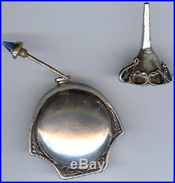 Vintage Engraved Face Design Jeweled Top Silver Perfume Bottle & Funnel