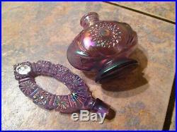 Vintage Fenton Amethyst Satin Glass Perfume Bottle-withLabel-EXC! -L@@K