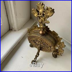 Vintage Gilt Metal Ormolu Filigree Perfume Bottle with Amber Glass 9