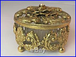 Vintage Gold Gilt Ormolu 18 Vanity Mirror Tray Perfume Bottles Trinket Jar Set