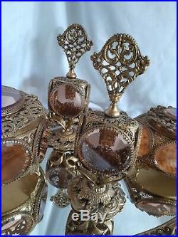 Vintage Gold Ormolu Filigree Perfume Bottles Jewelry Caskets Dresser Set Matson