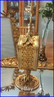 Vintage Gold Tone Vanity Set Mirrored Tray Perfume Bottles Frames ClockVase