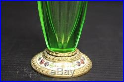 Vintage Green Glass Perfume Bottle with Floral Design, 5 1/2 Made in Austria
