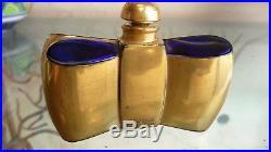 Vintage Guerlain Baccarat Coque D'Or Cobalt Perfume Bottle