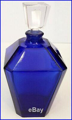 Vintage Guerlain Verveine Perfume Art Deco Cobalt Blue Bottle