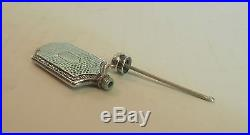 Vintage Hammered Sterling Silver Miniature Flask Shaped Scent / Perfume Bottle
