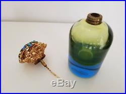 Vintage Irice Made in Italy Murano Glass Jeweled Flowers Perfume Bottle Rare
