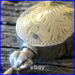 Vintage Jewellery Sterling Silver Perfume Bottle Pendant 3D With Wand, Etched