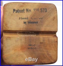 Vintage John A Oya Tiki Hawaiian War God Milo Wood Hawaii Perfume Bottle 1940s