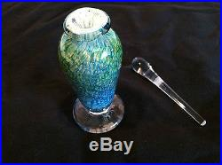 Vintage John Helkman Heavy Glass Perfume Bottle & Stopper Blu/Grn Swirl Signed