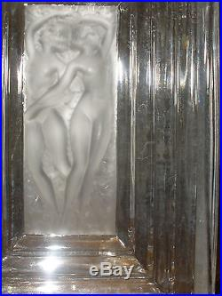Vintage Lalique France Duncan 3 perfume bottle Frosted Crystal women figures