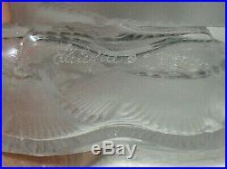 Vintage Lalique Glass Deux Fleurs Perfume Bottle withFloral Stopper 3 3/4 Ht