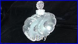 Vintage Lalique Glass Perfume Bottle Deux Fleurs Signed