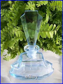 Vintage Light Blue Perfume BottleDAUBER IntactAcid Etched SignatureVERY LARGE
