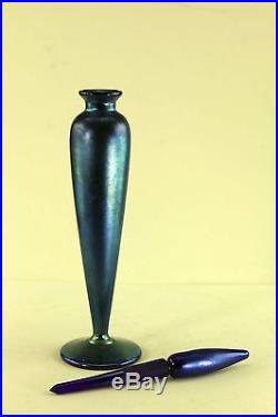 Vintage Lundberg Studios Tall Blue Aurene Scent Or Perfume Bottle