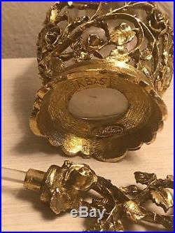 Vintage Matson lg crystal Ormolu gold metal filigree Roses Perfume Bottle K825