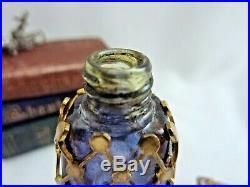 Vintage Miniature French Gold Gilt Lattice Filigree Blue Glass Perfume Bottle