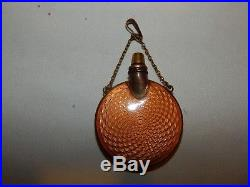 Vintage Miniature ORANGE Enameled Guilloche Perfume Purse Bottle