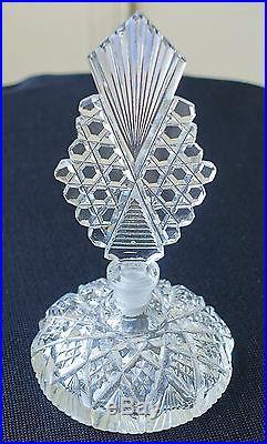 Vintage Morlee Cut Glass Perfume Bottle - Acid Marked & Labeled