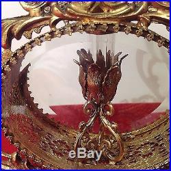 Vintage ORMOLU Gold Filigree Glass Victorian 8 Vanity ROSE HEART Perfume Bottle