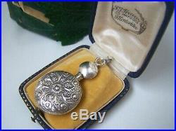 Vintage Ornate Solid Sterling Silver Chatelaine Perfume Bottle Pendant Unusual