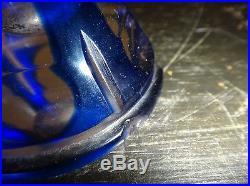 Vintage Pair Czech Crystal Perfume Bottle Atomizer Yellow Cobalt Cut Clear