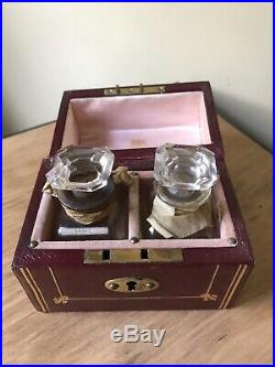 Vintage Pair Of Glass Scent Bottles In Rimmel London Leather Case / Box