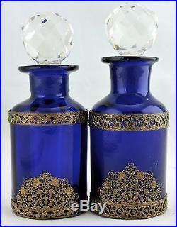 Vintage Perfume Bottle/decanter Vanity Cobalt Blue Glass
