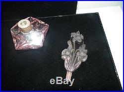 Vintage Pink Crystal Perfume Bottle Floral Stopper Sterling Silver Ring 7 3/4 T