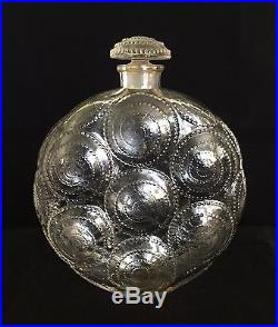 Vintage R. Lalique Relief for Forvil Art Glass Perfume Bottle with Stopper 6 3/4