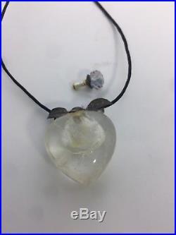 Vintage Rock Quartz Crystal Perfume Bottle Austrian Crystal Screw Top Necklace
