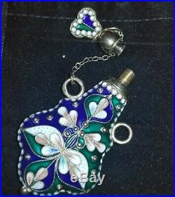 Vintage Russian Sterling Silver Cloisonne Enamel Perfume Bottle Pendant