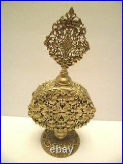 Vintage STYLEBUILT Pedestal Perfume Bottle with Dauber in Gold Ornate Filigree
