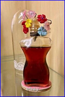 Vintage Schiaparelli Shocking Perfume Bottle With Flowers & Dome (1936)