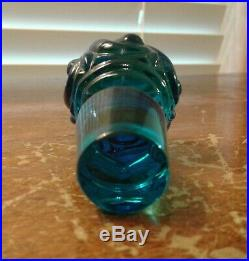Vintage Signed Baccarat Blue Swirl Perfume Bottle Mint Condition 5 1/2 Tall