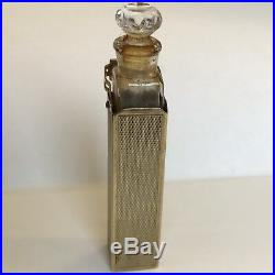 Vintage Solid 9ct Gold Cased Glass Scent Bottle Spring Mounted 1958 H 5.7cm