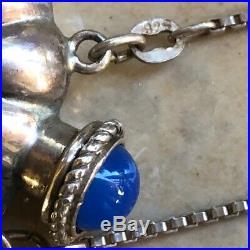 Vintage Sterling Perfume Bottle Necklace Gem Top