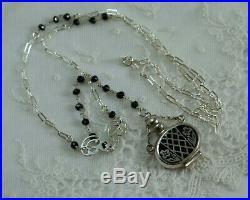 Vintage Sterling Silver -Black Enamel Perfume Bottle Necklace Miniature Pendant