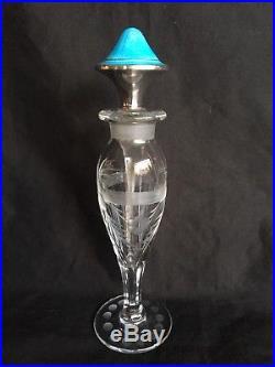 Vintage Sterling Silver Guilloche Enamel Cut Glass Perfume Bottle 7
