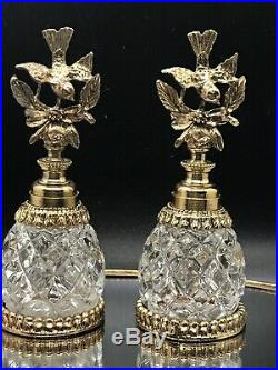 Vintage Stylebuilt Gold Ormolu Filigree Glass Bird Perfume Bottles And Mirror