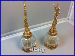 Vintage Stylebuilt gold gilt ormolu perfume bottles Love bird/dove design. Pair