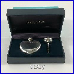 Vintage Tiffany & Co. 925 Sterling Silver Perfume Heart Bottle and Funnel Set