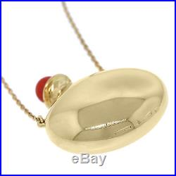 Vintage Tiffany&Co. Peretti 18K Gold Coral Round Bottle Perfume Pendant Necklace