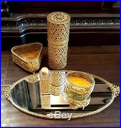 Vintage Vanity SetOrmolu Cherub Mirror Tray, Footed Trinket Boxes, Perfume Bottle