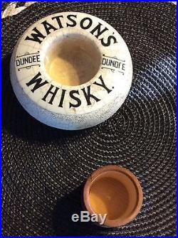 Vintage Watson's Whisky Dundee Match Holder Striker With Wood Cover Stoneware