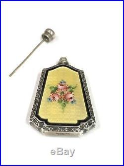 Vintage Webster Sterling Silver Yellow Guilloche Floral Enamel Perfume Bottle